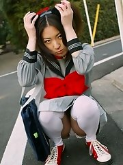 Asian teen is a slutty maid in pigtails