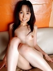 Sexy and horny Japanese av idol Yui Hasumi shows her naked body